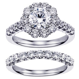 Platinum 2 7/8ct TDW Diamond Brilliant Cut Halo Engagement Bridal Set (G-H, SI1-SI2)