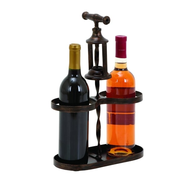 Metal Wine Holder With Traditional Cork-Opener Accent