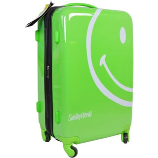 Smiley World Wink Lime Green 22 Inch Hard Shell Carry On Rolling Suitcase