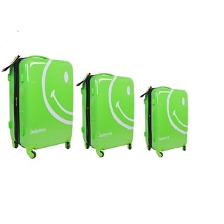 Smiley World Wink Bright Green Three Piece Hardside Rolling Luggage Set