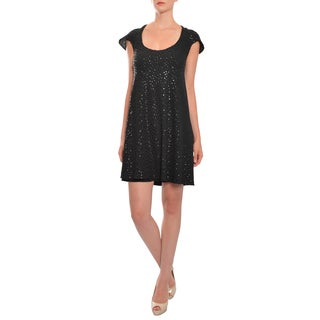 Marc Bouwer Fully Sequin Black Crepe Short Sleeve A-Line Evening Dress