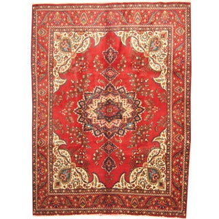 Herat Oriental Persian Hand-knotted 1960s Semi-antique Tribal Tabriz Wool Rug (9'6 x 12'8)