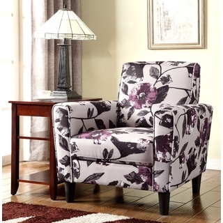 Contemporary Flower Pattern Fabric Accent Chair
