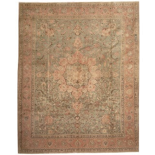 Herat Oriental Persian Hand-knotted 1920s Antique Tabriz Ivory/ Navy Wool Rug (10'2 x 12'9)