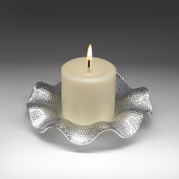 Ruffle Textured Silver Canape Plate With Candle