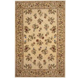Herat Oriental Indo Hand-tufted Tibetan Ivory/ Green Wool Rug (5'9 x 8'9)