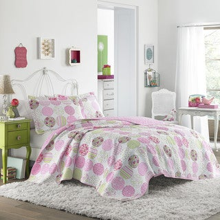 Laura Ashley Baylie Polka Dotted Patchwork Cotton Quilt Set