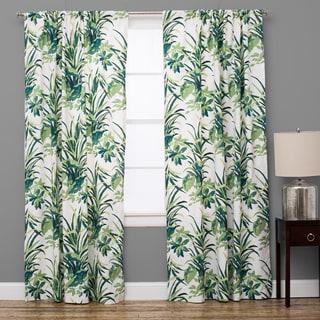Bermuda Cotton Palm Leaf Green Curtain Panel