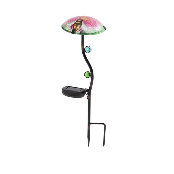 Sunjoy 110309021 18-inch Mushroom LED Solar Garden Stake (Set of 3)