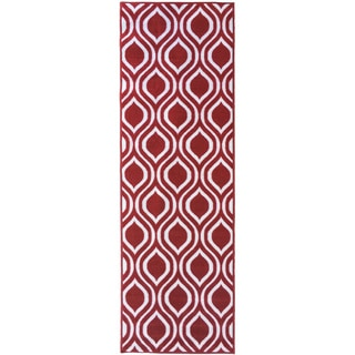 Berrnour Home Rose Collection Moroccan Trellis Design Runner Rug With Non-Skid (Non-Slip) Rubber Back (2'3 x 7')
