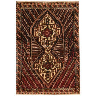 Herat Oriental Persian Hand-knotted Tribal Hamadan Navy/ Ivory Wool Rug (3'5 x 5'2)