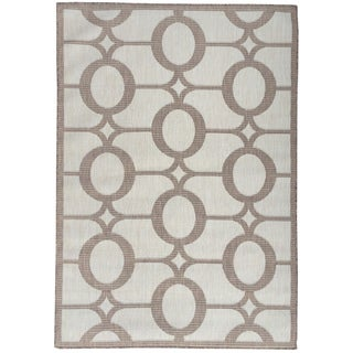Berrnour Home Summer Collection Circles Design Indoor/Outdoor Jute-Backing Runner Rug (5'3 x7'3)