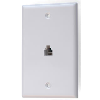 Black Point Products Inc BT-034-WHITE 4 Conductor White Telephone Jack Wall Plate