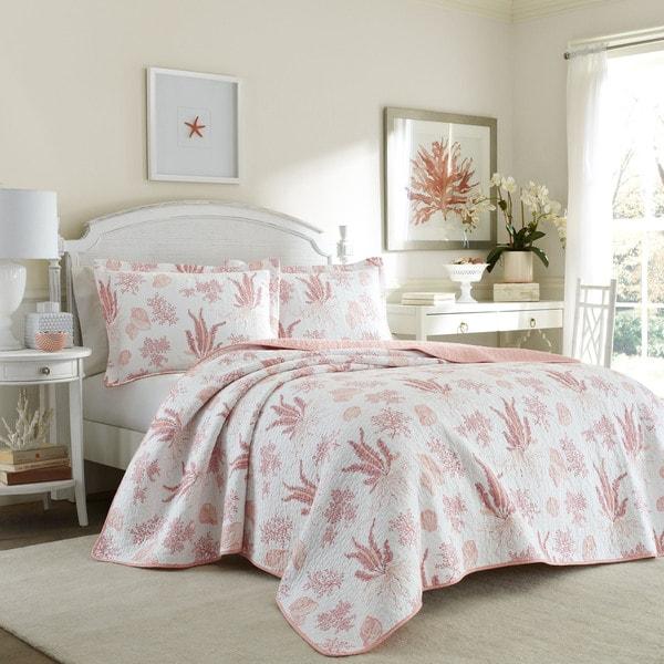 Laura Ashley Cape Coral Poppy Cotton Reversible Quilt Set