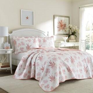 Laura Ashley Cape Coral Poppy Cotton Reversible Quilt Set