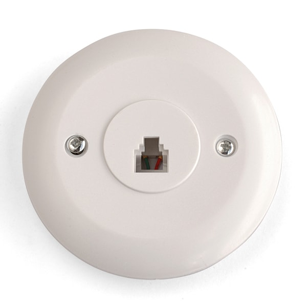 Black Point Products Inc BT-016-WHITE 4 Conductor White Circular Telephone Jack