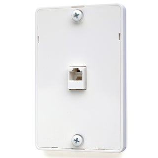 Black Point Products Inc BT-021-WHITE 4 Conductor White Wall Phone Jack