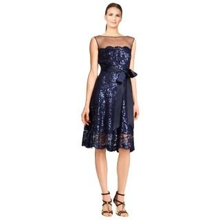 Tadashi Shoji Illusion Neckline Sequin Lace Cocktail Evening Dress