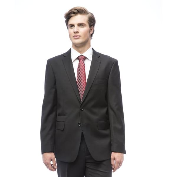 Men's Slim-fit Lined Black Viscose/Polyester Suit