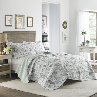 Laura Ashley Breezy Floral Cotton Reversible Quilt Set