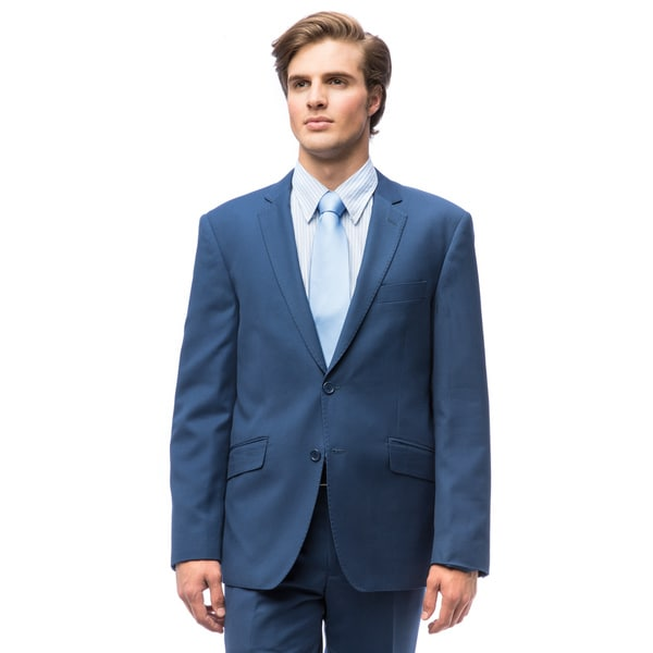Men's Indigo Blue Polyester Slim Fit Suit