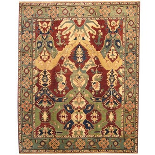 Herat Oriental Indo Hand-knotted William Moris Red/ Green Wool Rug (9'2 x 11'5)