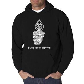 LA Pop Art Men's Blue Lives Matter Hooded Sweatshirt