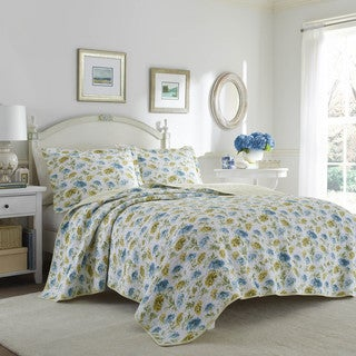 Laura Ashley Edwina Blue and Yellow Floral Cotton Reversible Quilt Set