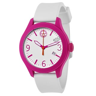 ESQ Movado Magenta Case with White Strap and Silicone Dial Watch