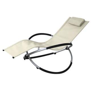Vanilla Orbit Beige Outdoor Rocking Lounge Chair
