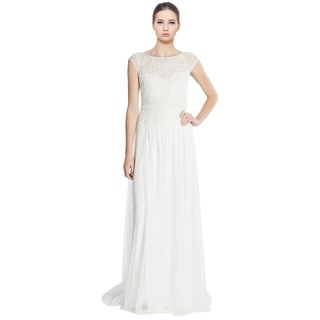 Adrianna Papell Lace Cap Sleeve Beaded Evening Gown Dress Size 12