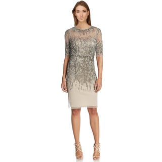 Adrianna Papell Beaded Illusion Sheath Cocktail Evening Dress