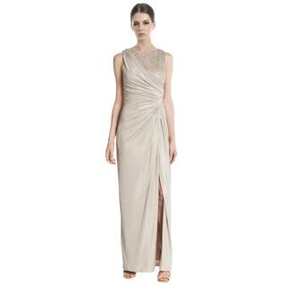 Adrianna Papell Metallic Lace Ruched Satin Evening Gown Dress Size 8