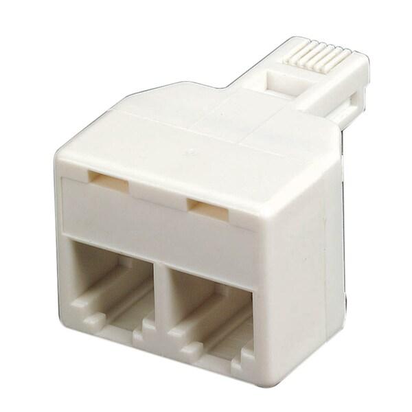 Leviton 832-C0247-W White Modular Duplex Phone Plug Adapter