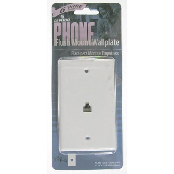 Leviton 002-40238-00W Single Gang White Flush Mount Phone Wallplate