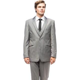 Men's Grey Satin-trim Vested Tuxedo