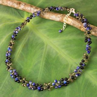 Silver Plate 'Royal Blue Garden' Multi-gemstone Necklace (Thailand)