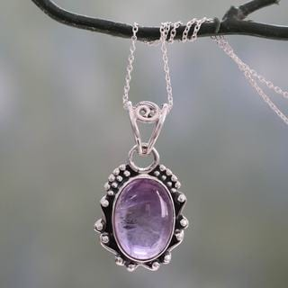 Handcrafted Sterling Silver 'Twilight Mist' Amethyst Necklace (India)