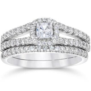 14k White Gold 1 1/10ct TDW Princess Cut Diamond Halo Engagement Wedding Ring Set (I-J, I2-I3)