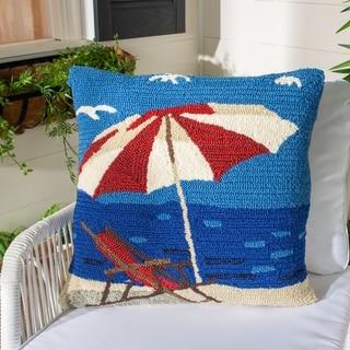 Safavieh Beach Lounge 20-Inch Marine / Red Decorative Throw Pillow (Set of 2)