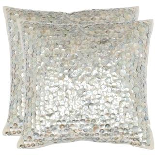 Safavieh Dialia 22-Inch Silver Decorative Throw Pillow (Set of 2)