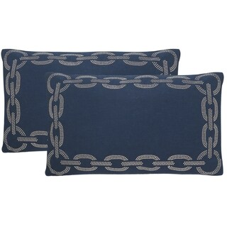 Safavieh Sibine 20-Inch Navy / Blue Decorative Throw Pillow (Set of 2)