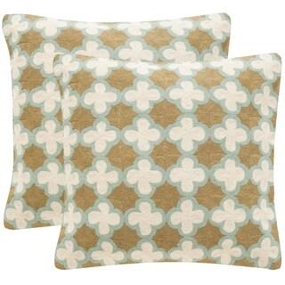 Safavieh Carna 20-Inch Amist Green Decorative Throw Pillow (Set of 2)