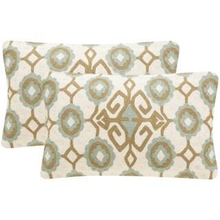 Safavieh Taylor 20-Inch Amist Green Decorative Throw Pillow (Set of 2)
