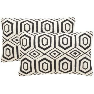 Safavieh Rolfe 20-Inch Black Decorative Throw Pillow (Set of 2)