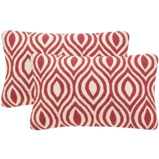 Safavieh Metis 20-Inch Red Decorative Throw Pillow (Set of 2)