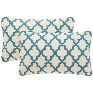 Safavieh Sandre 20-Inch Teal Decorative Throw Pillow (Set of 2)