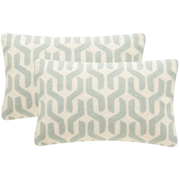 Safavieh Minos 20-inch Misty Mint  Decorative Throw Pillow (set Of 2)