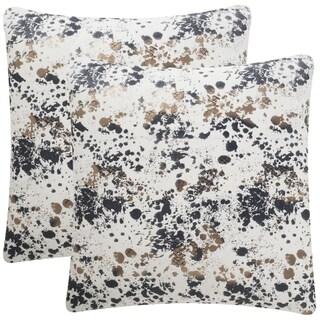 Safavieh Bess 20-Inch Splattered Pewter Decorative Throw Pillow (Set of 2)