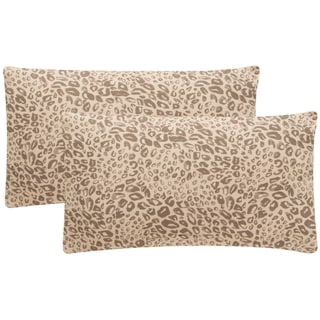 Safavieh Satin Leopard 20-Inch Earth Decorative Throw Pillow (Set of 2)